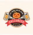halloween beer party patch retro badge vector image vector image