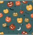 halloween pattern pumpkins and spiders horror vector image vector image