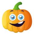 happy little orange pumpkin on white background vector image