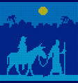 joseph and mary are on a donkey vector image vector image