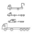 line art transport icons set vector image vector image