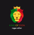 lion head with crown king of zion symbol of the vector image