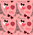 love paris doodle cartoon seamless pattern vector image vector image
