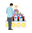 man and water at supermarket vector image vector image