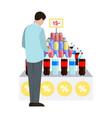 man and water at supermarket vector image
