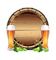 old wooden barrel with beer vector image
