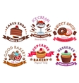 Pastry shop and cafe signs with cake and dessert vector image vector image