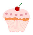 pink cupcake with cherry isolated on white vector image