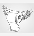 roll toilet paper flying on wings vector image vector image