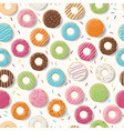 Seamless pattern with colorful tasty glossy donuts vector image vector image
