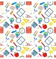 Seamless pattern with different school objects vector image vector image