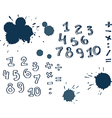 set hand drawn numbers vector image