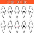 Set of 10 monochrome doodle ice cream with vector image vector image