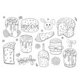 set of black and white easter cakes and eggs vector image