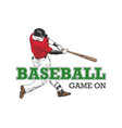 sketch baseball player with typography vector image vector image