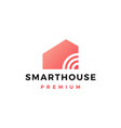 smart home house signal wifi wireless tech logo vector image