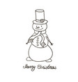 snowman hand drawn vector image vector image