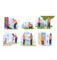 social workers taking care about people pet vector image vector image