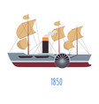 steam boat with sails and tube with smoke vector image vector image