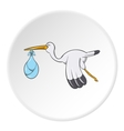 Stork with baby icon cartoon style vector image vector image