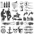 Tattoo Black White Icons Set vector image vector image