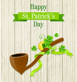 Tobacco pipe and clover leaves vector image vector image
