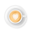 top view at white coffee cup on plate realistic vector image