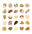 tree nuts icons pack vector image