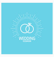 wedding rings vintage design on blue background vector image