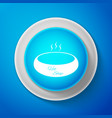 white bowl of hot soup icon on blue background vector image vector image