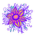 yellow violet pink fantasy flower framed by vector image vector image