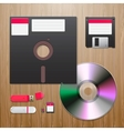 Digital data devices set on the wooden background vector image