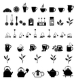 black tea icons set vector image