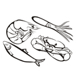sea food collection in simple black lines vector image