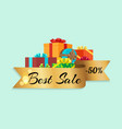 best sale -50 represented on vector image