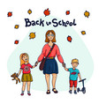 back to school mother taking her children to vector image