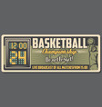 basketball sport ball player and court scoreboard vector image vector image