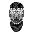 bearded sugar skull design element for poster vector image vector image