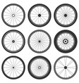 bicycle wheel symbol bike rubber mountain vector image