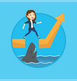 business woman jumping over ocean with shark vector image vector image