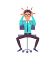 businessman holds head angrily vector image