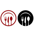 cafe icons with fork knife spoon plate vector image vector image