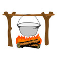 campfire with kettle vector image