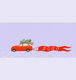 car carries a christmas tree greeting banner vector image
