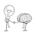 cartoon drawing brain and lightbulb characters vector image
