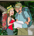 cartoon man and woman tourists in the jungle vector image
