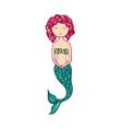 cute little mermaid lovely siren vector image