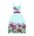 design dress with tulips flowers vector image