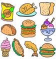 doodle of food and drink various vector image vector image