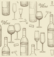 Drink wine seamless doodle pattern wine card bar